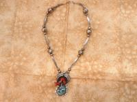 Ernest Wood Turquoise and Coral Sterling Necklace